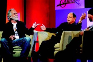 Comedians Tommy Chong, left, and Cheech Marin reunited Thursday on the stage of the St. Regis Grand Ballroom, reminiscing about their careers together, which began more than 30 years ago. Aspen Times photo/Mark Fox.