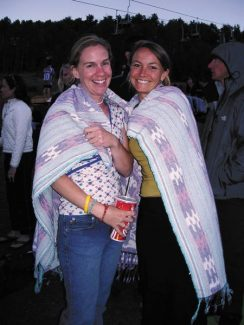 Virginia Betty and Becky Stirling keep warm at a recent Thursday night concert in Snowmass.