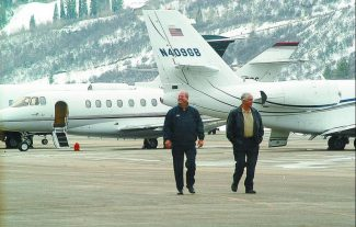 Private jets line the tarmac at the Aspen airport Wednesday morning. (Mark Fox/The Aspen Times)
