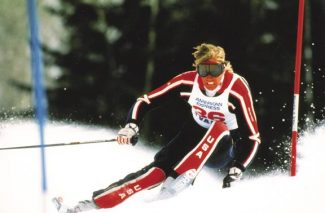 Aspen's Mark Taché competes in a World Cup slalom in Vail in 1984. (Courtesy Lorna Petersen)