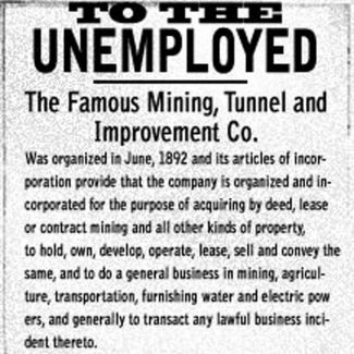 B. Clark Wheeler's ad in his own newspaper enticed unemployed miners. From the Aspen Daily Chronicle, Nov. 21, 1893.