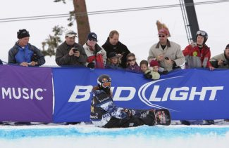 Ryan Slabaugh/Sierra SunOlympic gold medalist Shaun White takes a moment Saturday at the Sprint U.S. Snowboarding Grand Prix at Mammoth Mountain, Calif.
