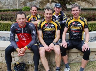 Courtesy of Honey StingerPart-time Aspen resident Lance Armstrong and the team from Honey Stinger take a break after a recent ride in Austin, Texas. Pictured in the front row are, from left, Armstrong, Rich Hager and Len Zanni. In the back are Bill Gamber and Bart Knaggs.