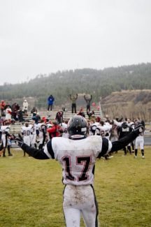 Mike Pierce/Pagosa Springs SUN fileAspen receiver and cornerback Quinn Morehead celebrates after last November's playoff-opening victory over Pagosa Springs.