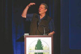 Rustin Gudim/The Aspen TimesFormer Vice President and Nobel laureate Al Gore speaks about climate change at the Forest at Risk symposium held at the Aspen Meadows on Friday.