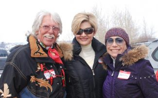 Jess BatesLeft to right at the picnic on the snow are Jag Pagnucco, Tracy McMullan and Betty Gates.