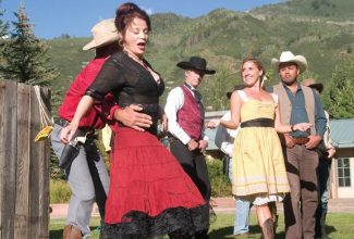 """Stewart Oksenhorn/The Aspen TimesMembers of the Hudson Reed Ensemble rehearse for the company's production of """"The Taming of the Shrew."""" The Western version of Shakespeare's romantic comedy plays at Aspen's Galena Plaza."""