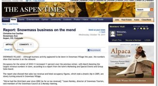 "Starting Friday, readers again can contribute comments on articles on aspentimes.com, with a few changes. Readers will find comments on a separate tab on ""articles,"" shown here. Also, readers will need to be logged on to their active Facebook accounts to be able to post comments, and will have the option to publish those comments on their own Facebook pages."