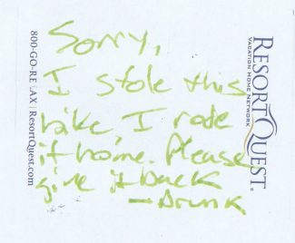 Special to The Aspen TimesA Pitkin County undersheriff found this note on a bicycle outside the Sheriff's Office.