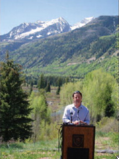 Scott Condon/The Aspen TimesMatt Rice, of American Rivers, announces Tuesday that the Crystal River was placed on the organization's list of the 10 most endangered rivers of 2012. He made the announcement from the Placita Overlook outside of Redstone, where a 4,000-acre-foot reservoir could swamp the river valley.