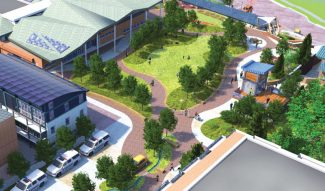 Courtesy of Aspen Parks DepartmentThis artist's rendering depicts how a reconfigured Galena Plaza might one day look adjacent to an expanded Pitkin County Library in Aspen. Note that the library's canopy design has since been altered and now makes use of skylights. A small amphitheater as well as a staircase leading down to Rio Grande Place have been envisioned for the northern end of the plaza (see top right area of the rendering).