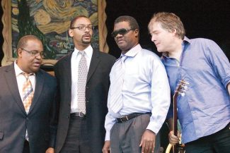 "Stewart Oksenhorn/The Aspen TimesBanjoist Bla Fleck, far right, and the Marcus Roberts Trio - bassist Rodney Jordan, drummer Jason Marsalis and pianist Roberts, left to right - collaborated on the album ""Across the Imaginary Divide."""