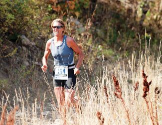 Contributed photoAspen's Anne Gonzales races to victory in her age group in September's XTERRA Nationals at Snowbasin Resort in Utah.