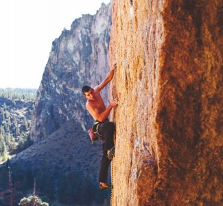 "Alex Honnold climbing ""Karate Wall"" 5.12c R, a runout classic climb at Smith Rock State Park in Terrebonne, Oregon."