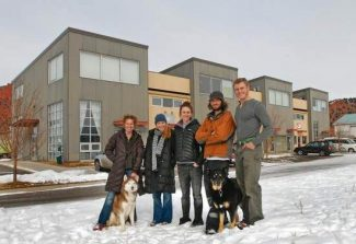 Kelley Cox/Post IndependentThe Carbondale Businesses and Lofts building provides the business space for several entrepreneurs including, from left, Lea Tyler of Tyler Ware with her studio dog Juno, Noela Figueroa and Caroline Glover of Fold Community Kitchen, Kevin Passmore of UpSki and Zac Seipel (apprentice to Brad Reed Nelson not shown) of Board by Design with shop dog Blueberry.