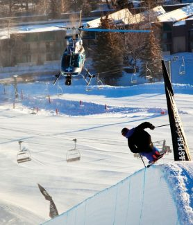 """Jeremy Swanson/Aspen Skiing Co.Torin Yater-Wallace drops into the halfpipe at Buttermilk Mountain during filming in January 2011 of """"Days to Come,"""" a six-minute ski short produced by Vital Films, of Aspen. A pilot with DBS Helicopters, of Rifle, was hired to assist the shoot."""