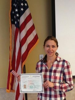 Contributed photoJoanne Tordoff shortly after she pledged allegiance to the United States during a swearing in ceremony of new citizens.