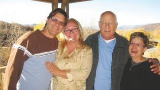 George Falk, left, Lesa Thomas, executive director of the Aspen Camp of the Deaf and Hard of Hearing, Mike Adler and wife Pam Adler in Aspen. Mike Adler spent countless hours volunteering for the Aspen Camp and serving on its board, right up until his death on April 17.