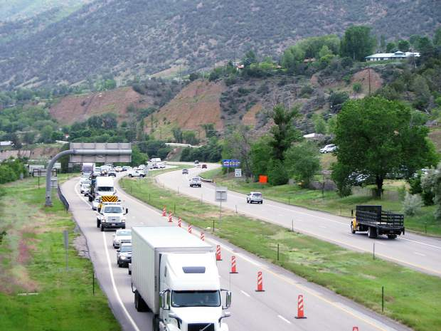 Eastbound Interstate 70 traffic backs up at Glenwood Springs after the road was closed Thursday morning.