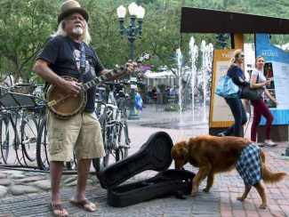 "Jeep Caillouet and his dog, Cleo, perform in Aspen on Friday. Caillouet is a 20-year Aspen resident who spent the past 11 years performing at the daily ""Sunset Celebration"" in Key West, Florida. ""In Key West, they celebrate the sun going down every day,"" Caillouet said. Cleo likes to grab any money given to Caillouet with her mouth and drop it in the guitar case."