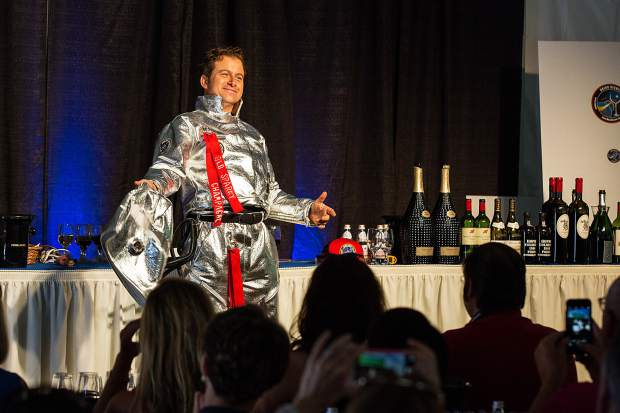 Speaker Mark Oldman appears in a space suit during