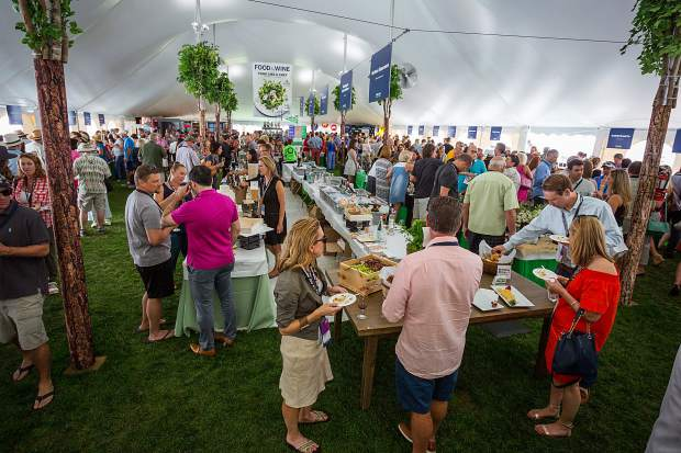 The main tents at the Food & Wine Classic grand tasting in Wagner Park provided 55,000 square feet of space for eating and drinking.