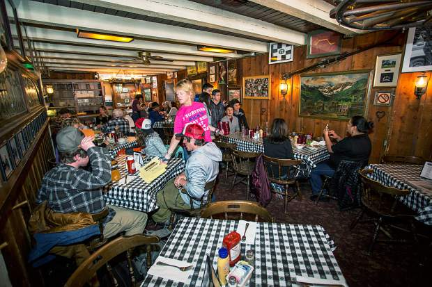 Diners stop into Little Annie's on its final day of operation Sunday.