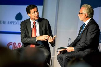 FBI Director James Comey (left) discusses terrorist threats in the U.S. during an interview in Aspen Wednesday with CNN's Wolf Blitzer.