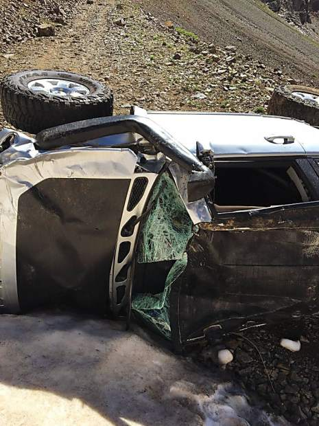What's left of James Scully's Toyota FJ Cruiser after he rolled it down a mountain Saturday outside of Aspen.