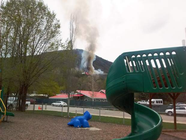 The view of Monday's fire from the Sopris Elementary School playground.