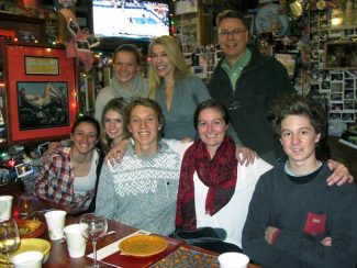 The students going to Haiti, their chaperones and one hostess met at the Woody Creek Tavern recently to discuss plans prior to the trip. In the front, left to right, are Allegra Galli, Tiana Perry, Ben Belinski, Mary Cate Hauenstein and Jacob Kadota. In the back row, it's Dominique Wojcik, Susie Krabacher and Richard de Campo.