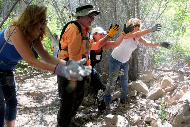 Roaring Fork Outdoor Volunteers' project involved moving a lot of rock.