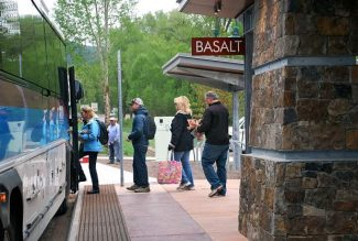 Passengers prepare to board a Roaring Fork Transportation Authority bus. Ridership through April is on a pace to flirt with a record set in 2008.