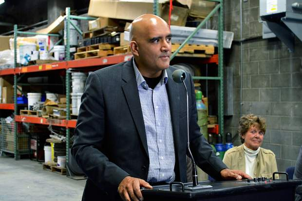 Colorado Department of Transportation Executive Director Shailen Bhatt celebrated the completion of the new fire-suppression system in the Eisenhower-Johnson Memorial Tunnels.