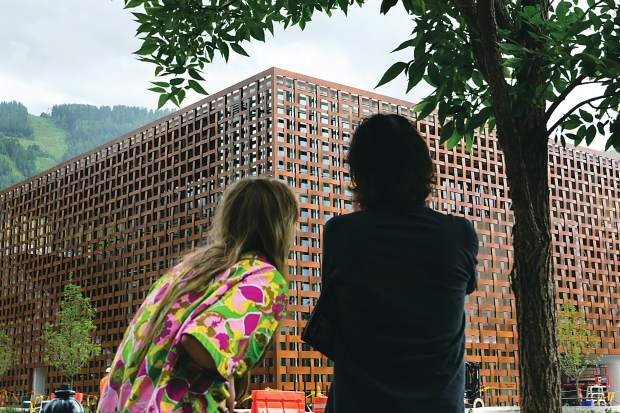 Many people stopped to check out the progress of the new Shigeru Ban-designed Aspen Art Museum on Wednesday afternoon.