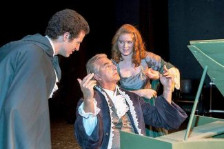 "Colorado Mountain College Theatre's production of ""Amadeus,"" featuring David Collier, Gary Ketzenbarger and Bella Barnum, left to right, plays at the Wheeler Opera House tonight and Friday."
