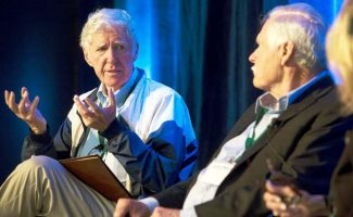 Lester Brown discusses the reduction of carbon emissions to Ted Turner and Sally Ranney during Friday morning's armchair conversation at the Aspen Institute as part of the AREDAY summit.