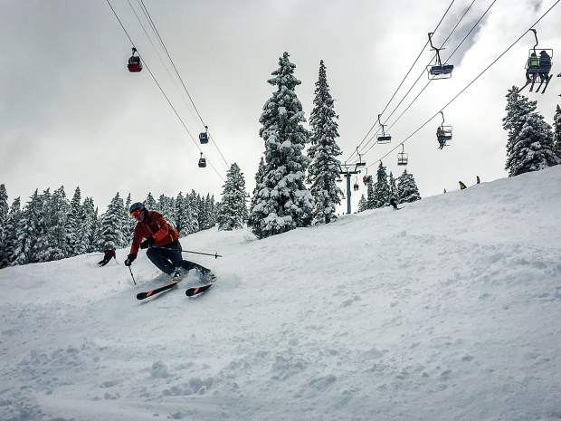 A skier descends Ridge of Bell on closing day Sunday. A bill under consideration by Congress could funnel ski area fees into enhancing summer and winter recreation opportunities in national forests.