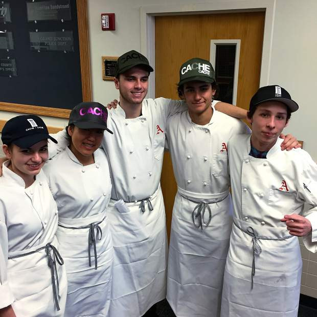 A group of student chefs from Aspen High School won first place at the Western Slope regional culinary competition last weekend by preparing a three-course meal in one hour. The menu included a braised rabbit fettuccini with housemade ricotta, pancetta and tarragon white wine sauce, followed by sustainable Colorado striped bass with potato and cauliflower purée, Brussels leaves, garlic and parsley oil, with red wine reduction.
