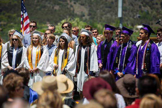Basalt High School Chamber Choir sings a song at the graduation ceremony Saturday.