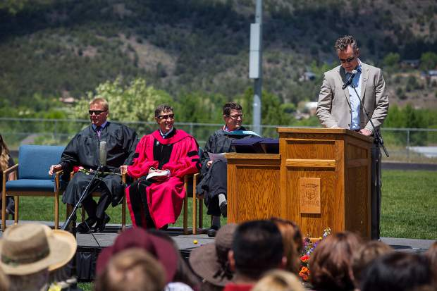 Chris Klug speaks at the Basalt High School graduation ceremony Saturday.