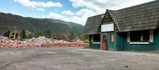 The former Taqueria el Nopal building in Basalt will be torn down this year for development of Rocky Mountain Institute's office and Innovation Center. The former site of the Pan and Fork Mobile Home Park, left of the building, is being eyed for a riverside park and development along Two Rivers Road.