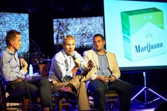 James Hamblin, Ben Cort and Kevin Sabet (fron left) discuss the similarities between the marijuana industry and Big Tabacco as part of a presentation during the Aspen Ideas Festival Thursday night.