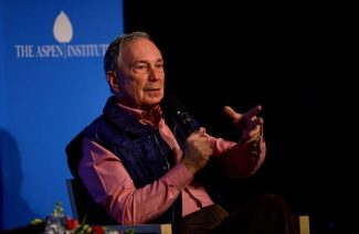 Three-term New York City Mayor Michael Bloomberg speaks before a crowd of about 400 at the Aspen Institute on Feb. 5.