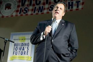 New Jersey Gov. Chris Christie speaks during a fundraiser for Iowa Gov. Terry Branstad on Thursday in Davenport, Iowa. Christie and other Republican governors will be in Aspen next week for a conference and panel discussion at the Aspen Institute.