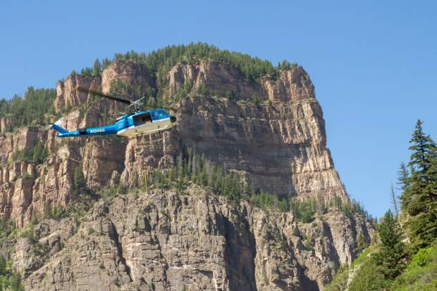 Glenwood Canyon was closed Wednesday due to helicopter operations to place rockfall netting in response to the major rock slide in February.