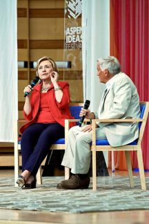 Former Secretary of State Hillary Clinton responds to a question from Aspen Institute president and CEO Walter Isaacson at the Aspen Ideas Festival last summer.