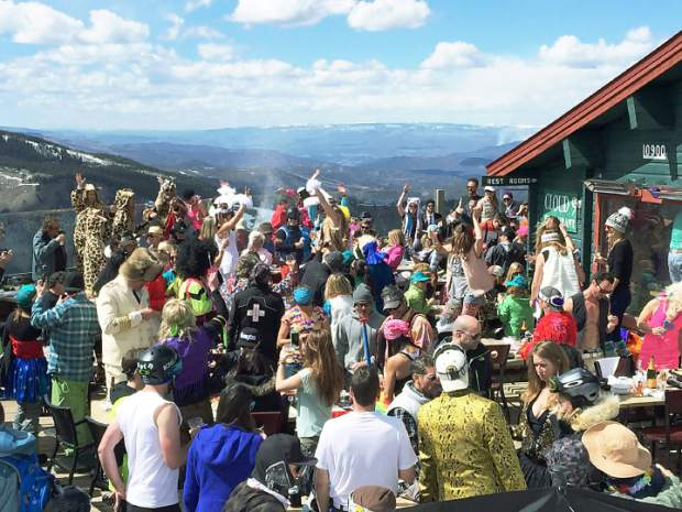 Partiers gathered at Cloud 9 for one last Champagne-spraying bash of the 2014-15 season.