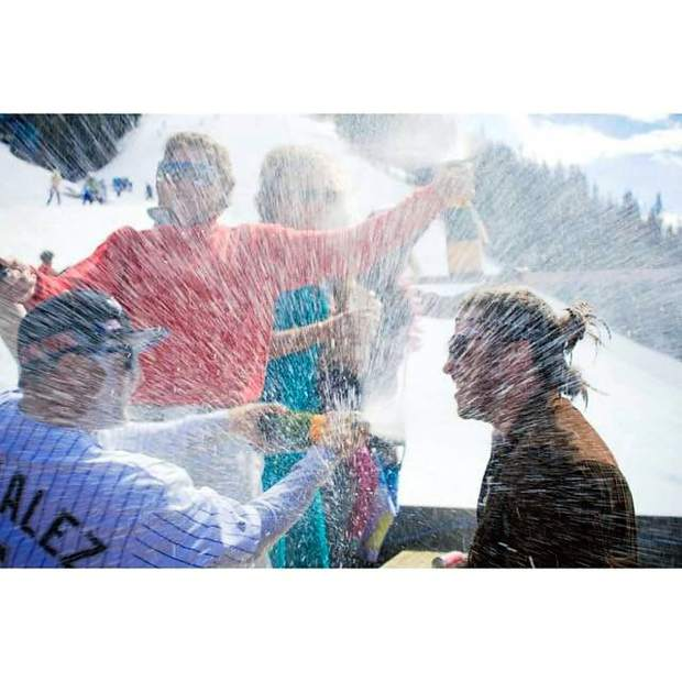 More champagne sprays on the Cloud 9 deck at Aspen Highlands' 2015 closing day celebration.