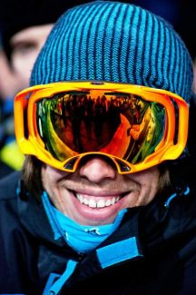 The crowd is reflected in a spectator's goggles Friday during the Winter X Games at Buttermilk.